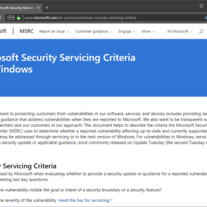 microsoft security updates servicing