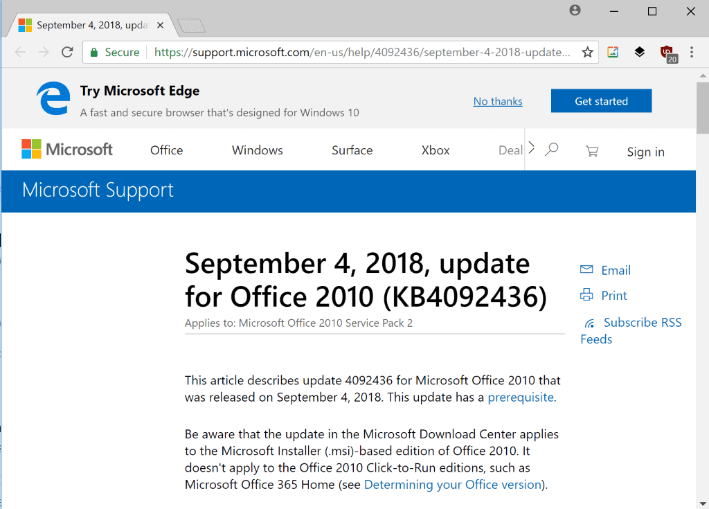 microsoft office 2010 outlook patches