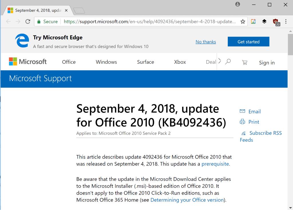 office 2010 september 2018