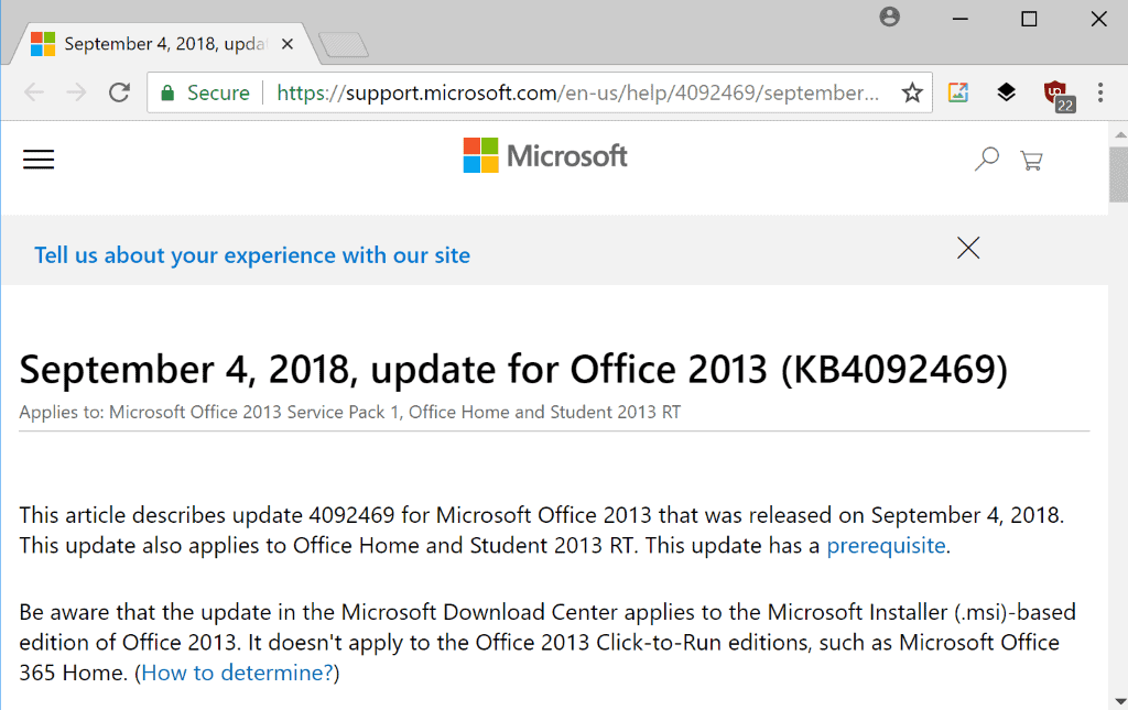 Microsoft releases September 2018 non-security Office