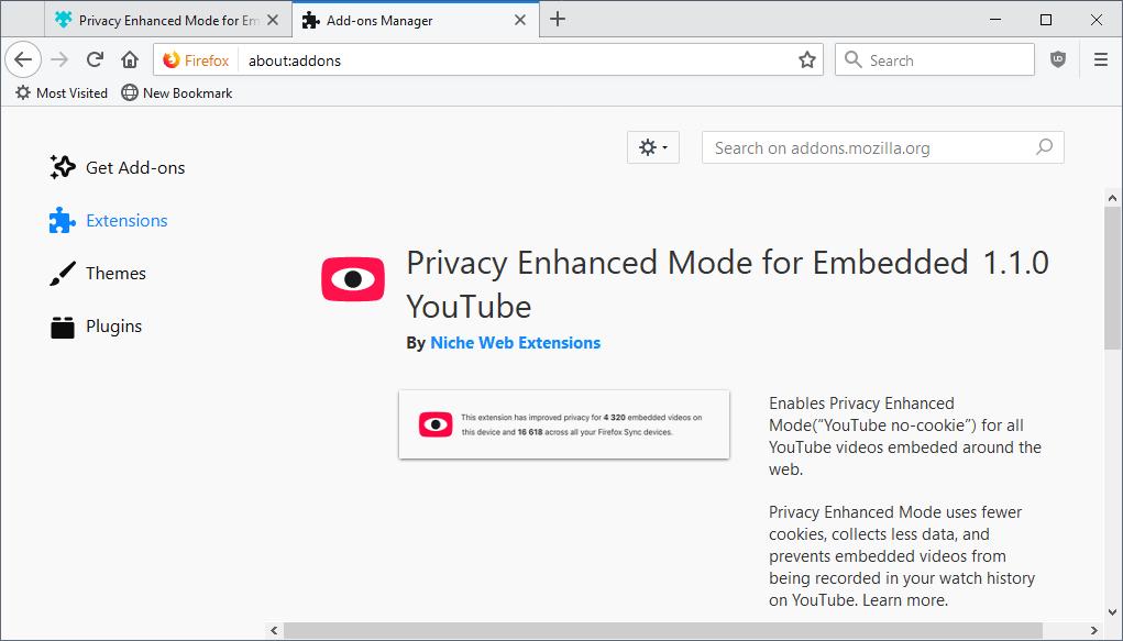 privacy-enhanced mode firefox youtube