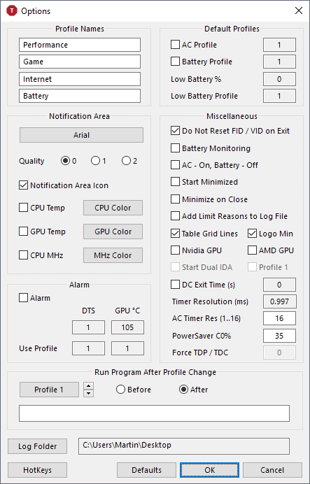 throttlestop options