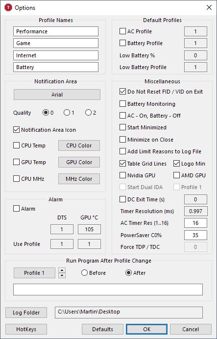 throttlestop options
