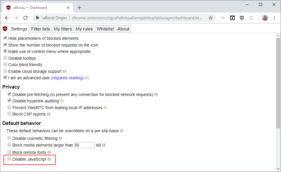 ublock origin disable javascript