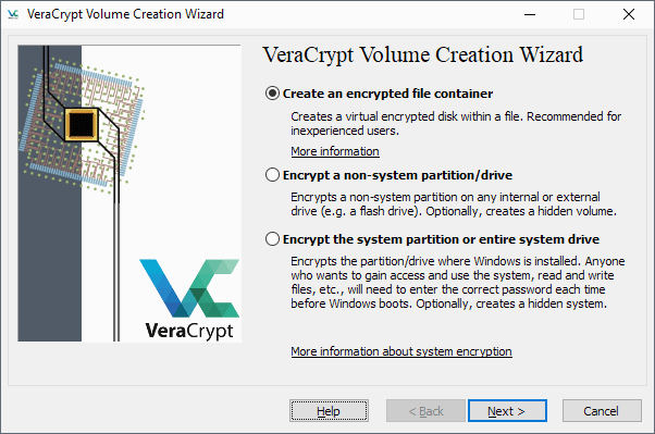 veracrypt create volume
