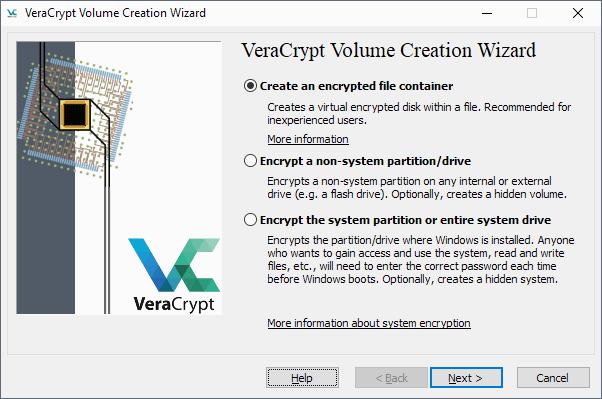 veracrypt create volume