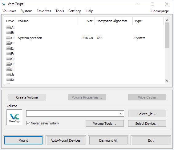 veracrypt main interface