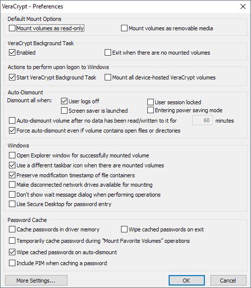 veracrypt preferences