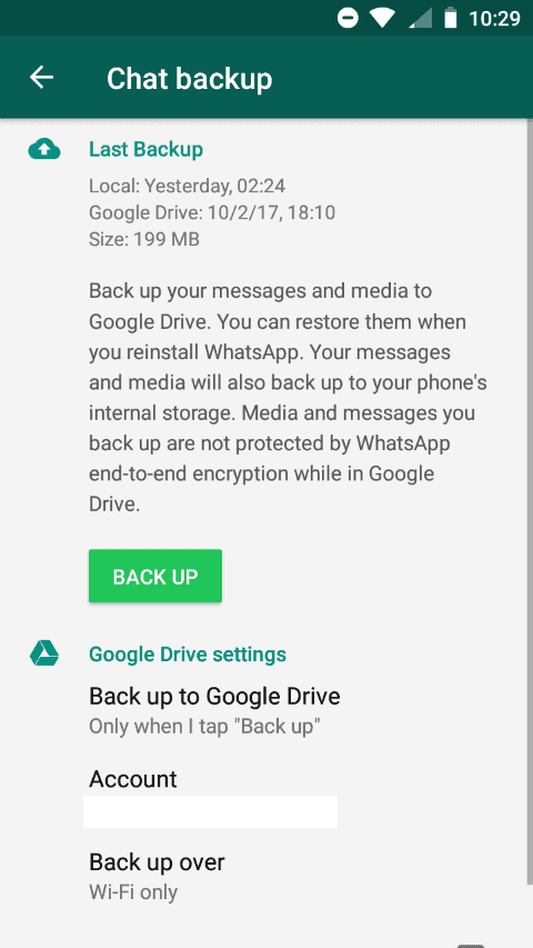 whatsapp remote backup