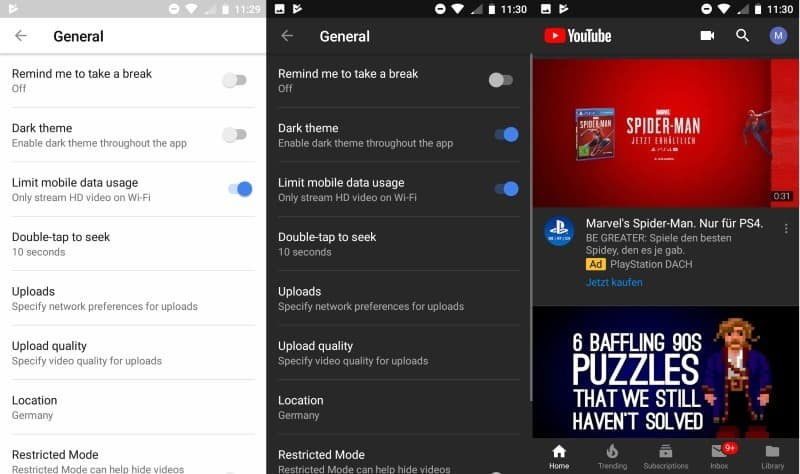 youtube android dark theme