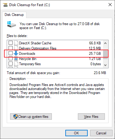 disk cleanup downloads