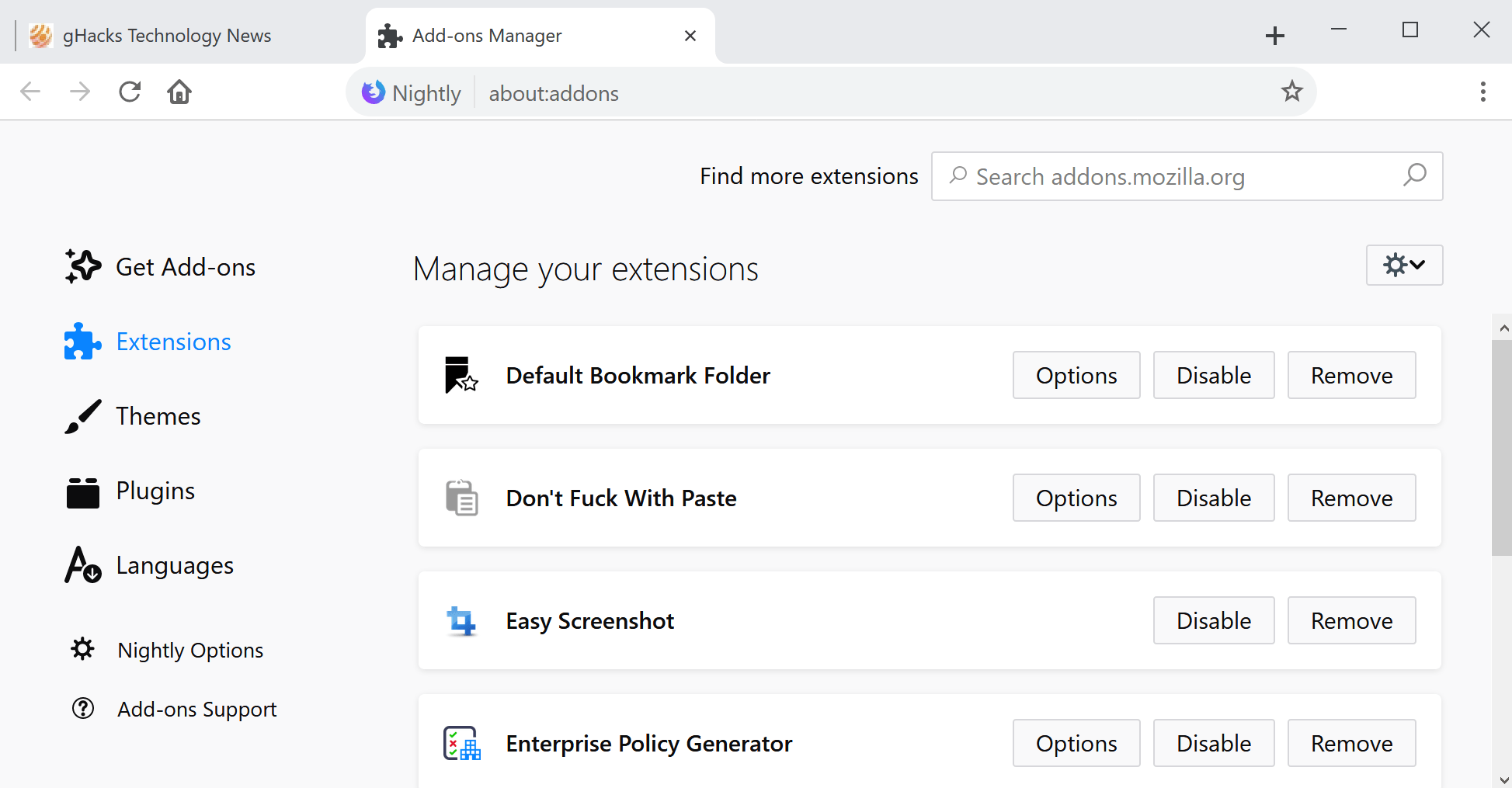 Firefox 64: add-ons manager redesign
