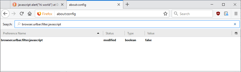 firefox address bar javascript