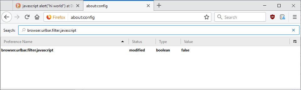firefox address bar javascript
