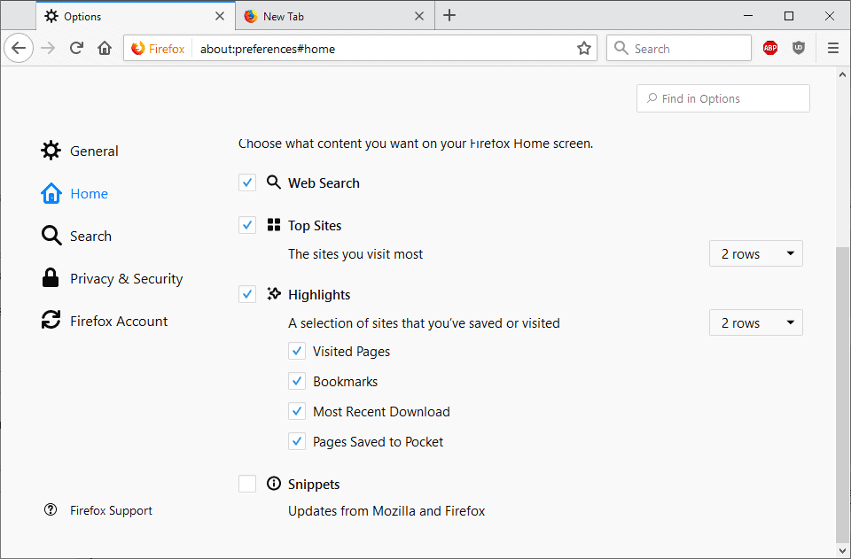 firefox disable snippets