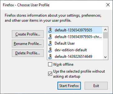 Firefox 67: dedicated profiles per install