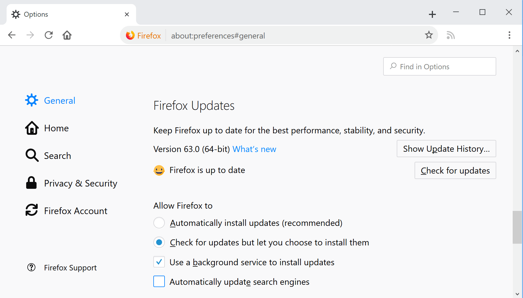firefox update check 63