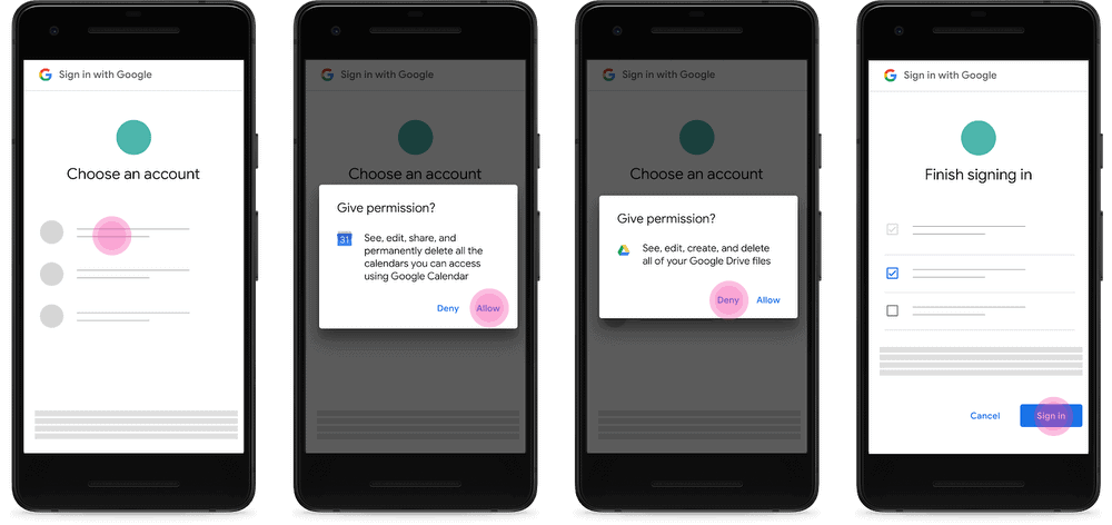 google individual permission requests