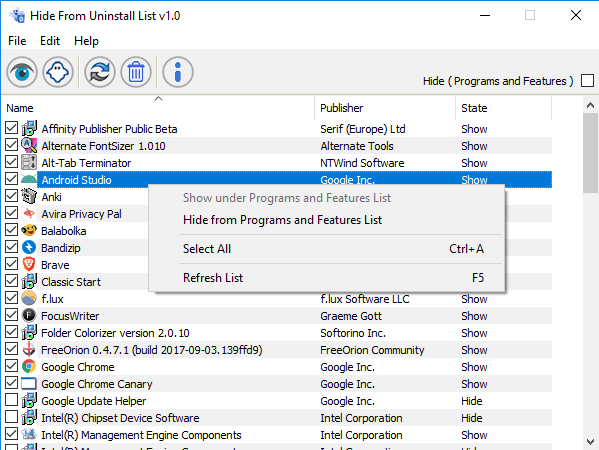 hide from uninstall view
