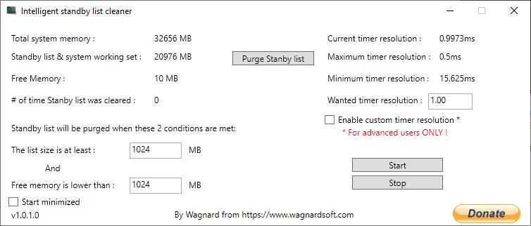 intelligent standby list cleaner