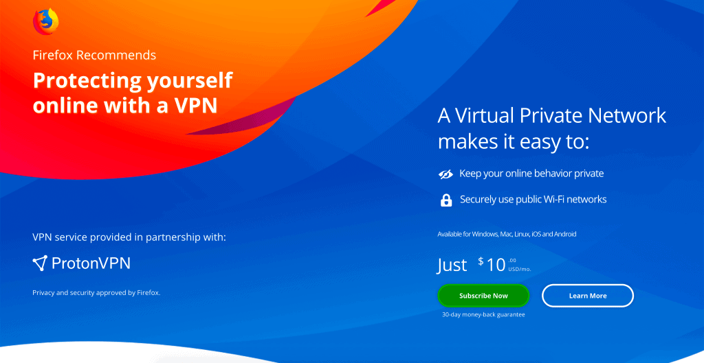Mozilla tests Premium VPN Service