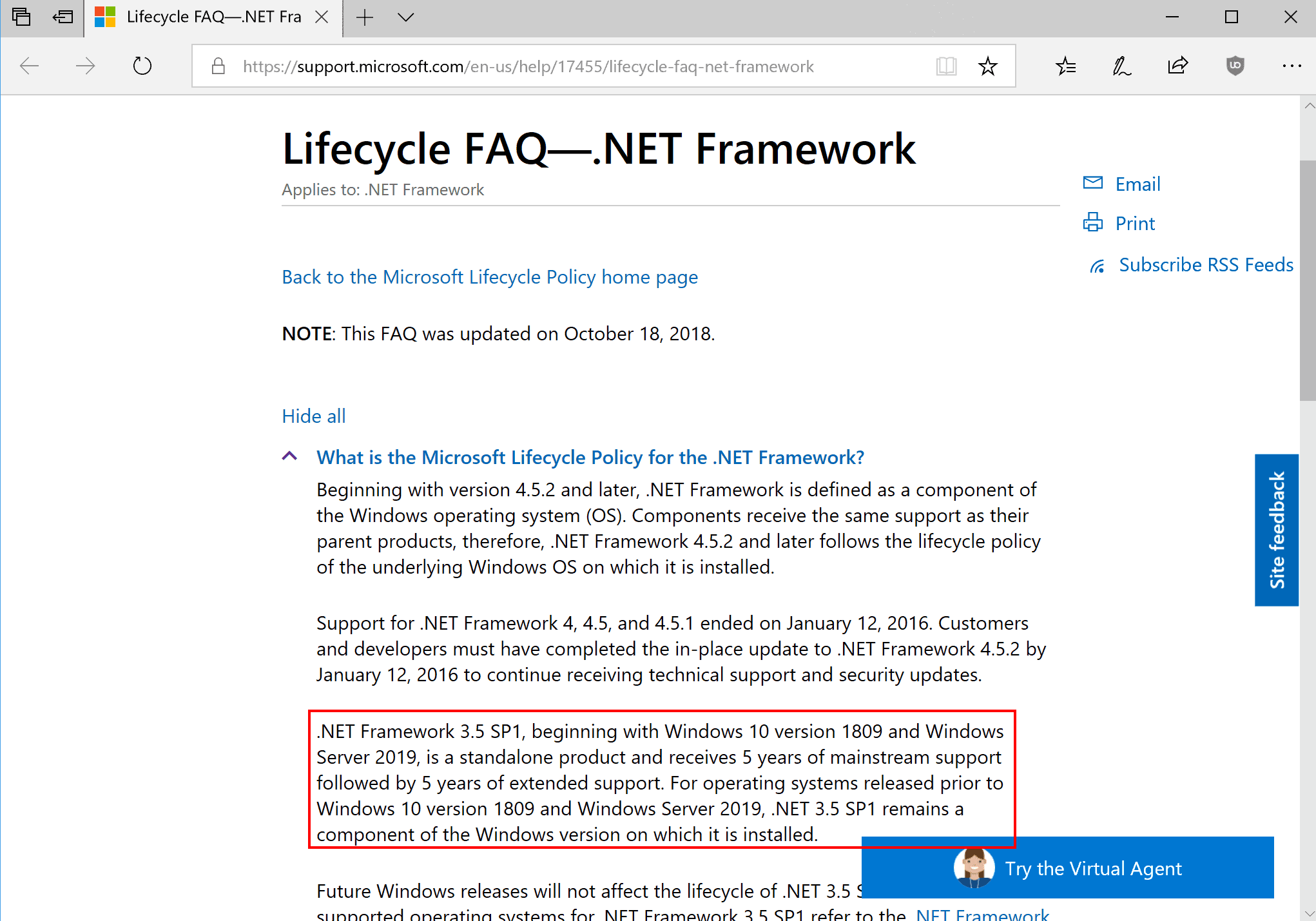 windows 10 net framework 3.5 end of support
