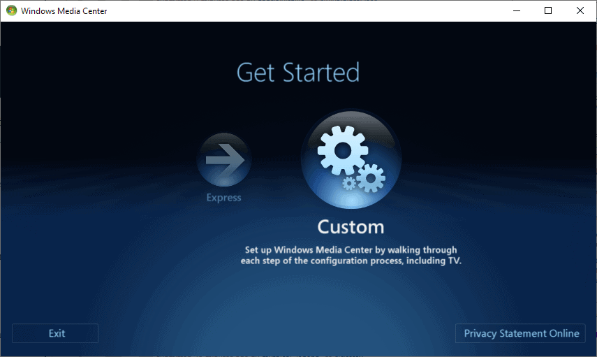 windows media center setup