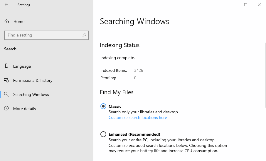 Windows Search Enhanced Mode in Windows 10