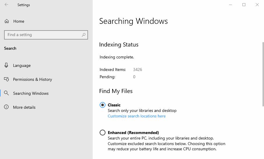 windows search enhanced mode