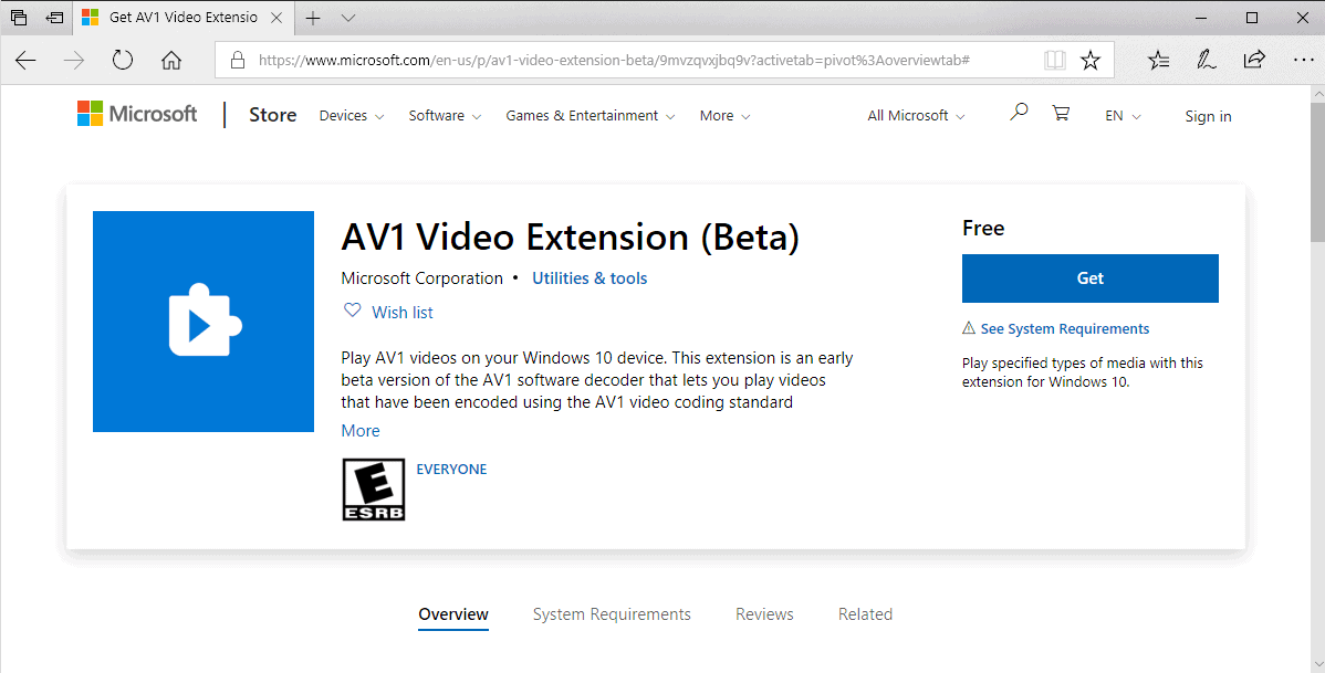 av1 video extension windows 10