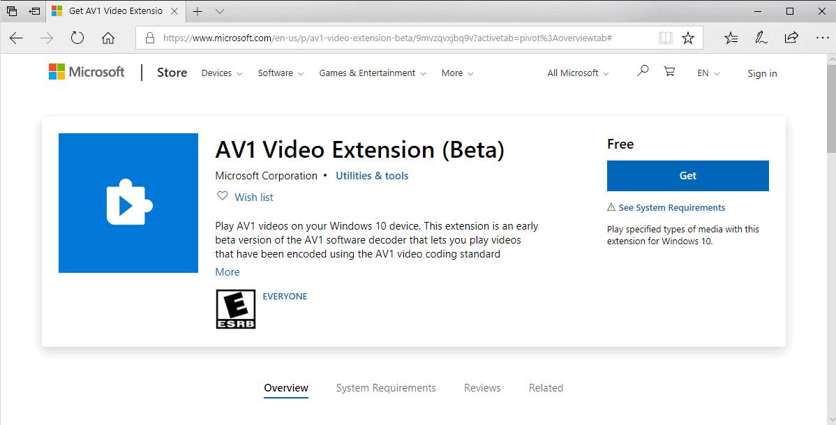 av1 video extension windows 10