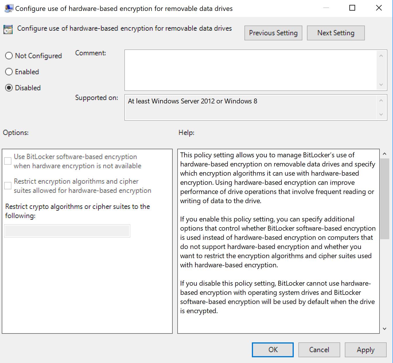 bitlocker use software encryption