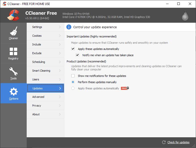 ccleaner updates options