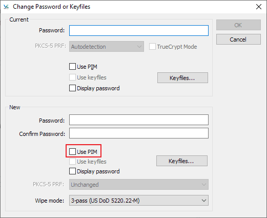 How to change the PIM of a VeraCrypt volume
