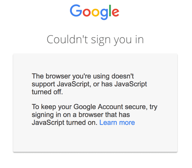 Google sign-ins will require JavaScript soon