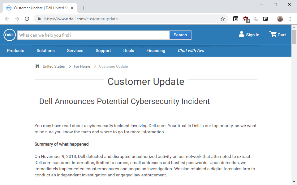 dell incident passwords