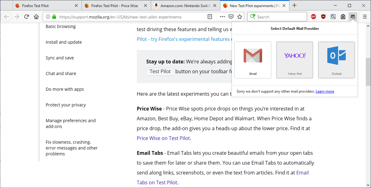 email tabs