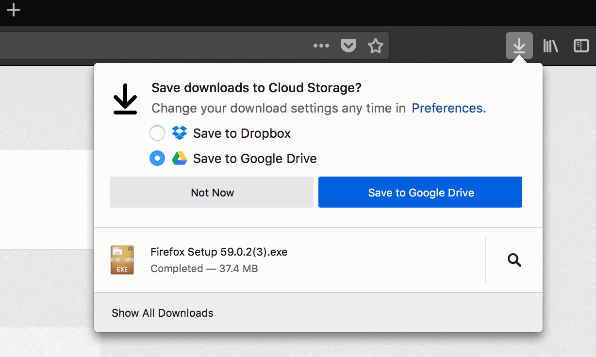 firefox save to cloud storage