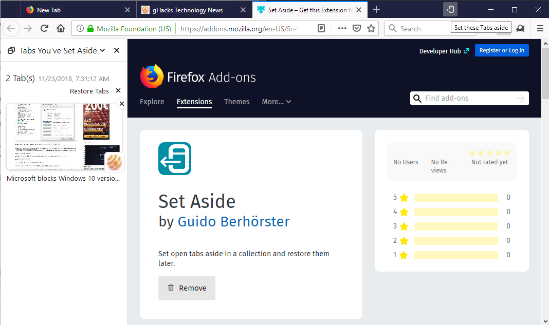 firefox set tabs aside