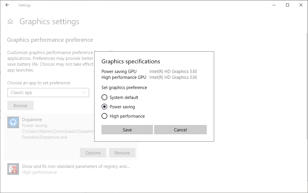 Assign graphics performance preferences to Windows 10 programs