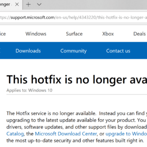 hotfix service windows not available