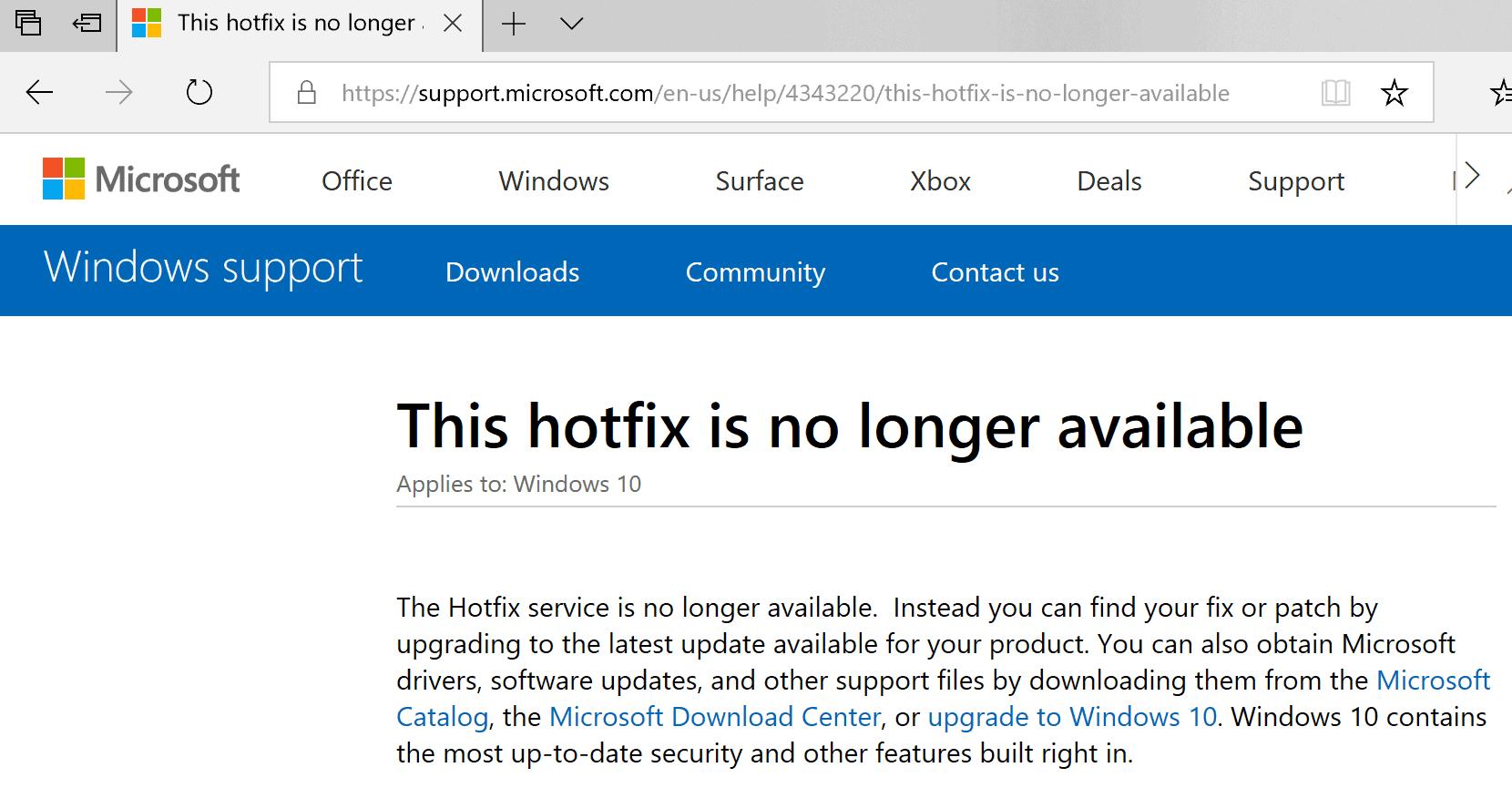 hotfix service windows not available