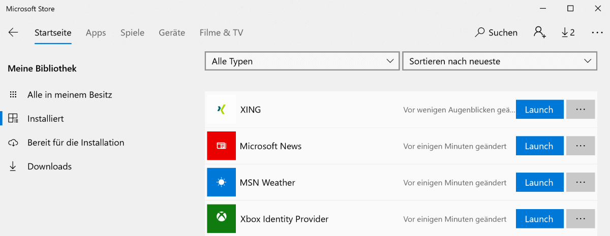 Microsoft Store remembers App history for all users