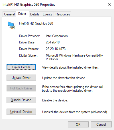 intel hd 530 driver crashing