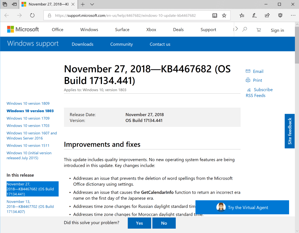 KB4467682 and KB4467681 for Windows 10 1803 and 1709