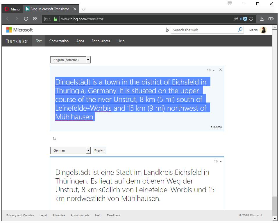 microsoft translation