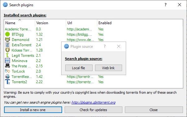 qbittorrent search plugins