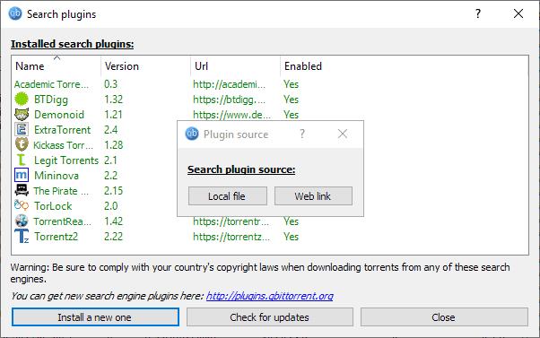 qbittorrent search plugins