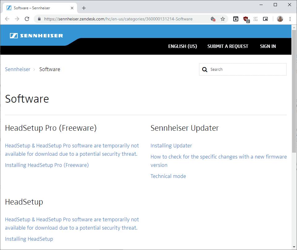sennheiser windows advisory