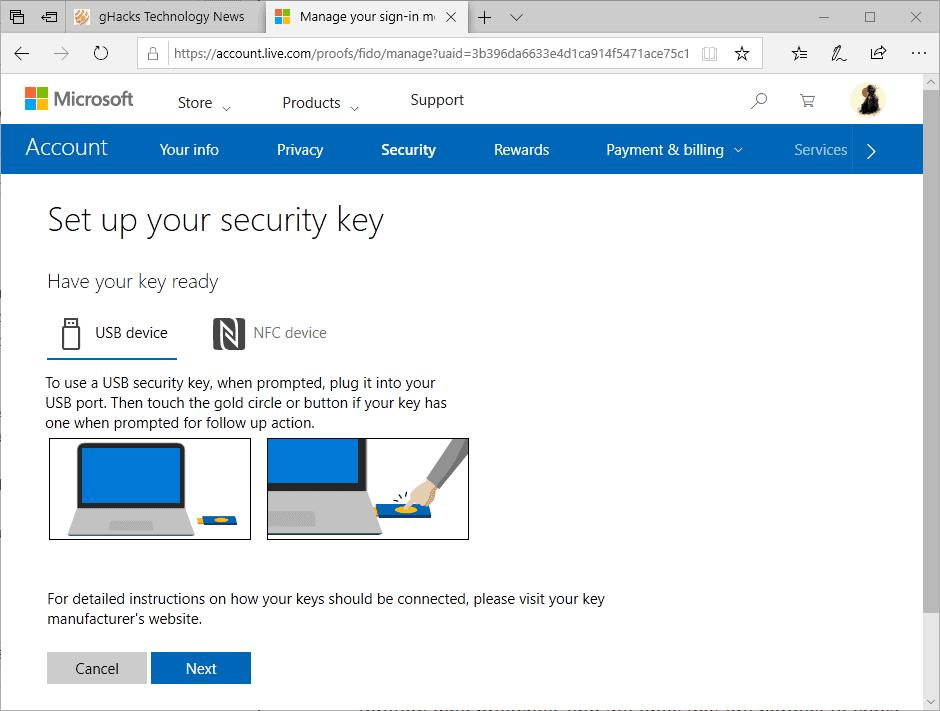 set-up security key